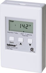 Tekmar DHW Control - 2 stage.  DHW Control 257 is designed to operate multiple boilers for volume water heating. It can be used in hotels, apartments, and laundromats to control multiple boilers and provide quick recovery for domestic hot water. This control regulates a single hot water temperature through DHW control. It is capable of controlling up to 2 on/off boilers using a sensor to maintain a tank setpoint temperature.